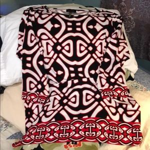 Black and red geometric dress